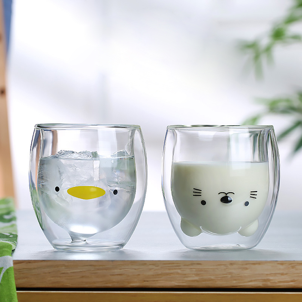 Cute Animal Double Wall Glass Cup